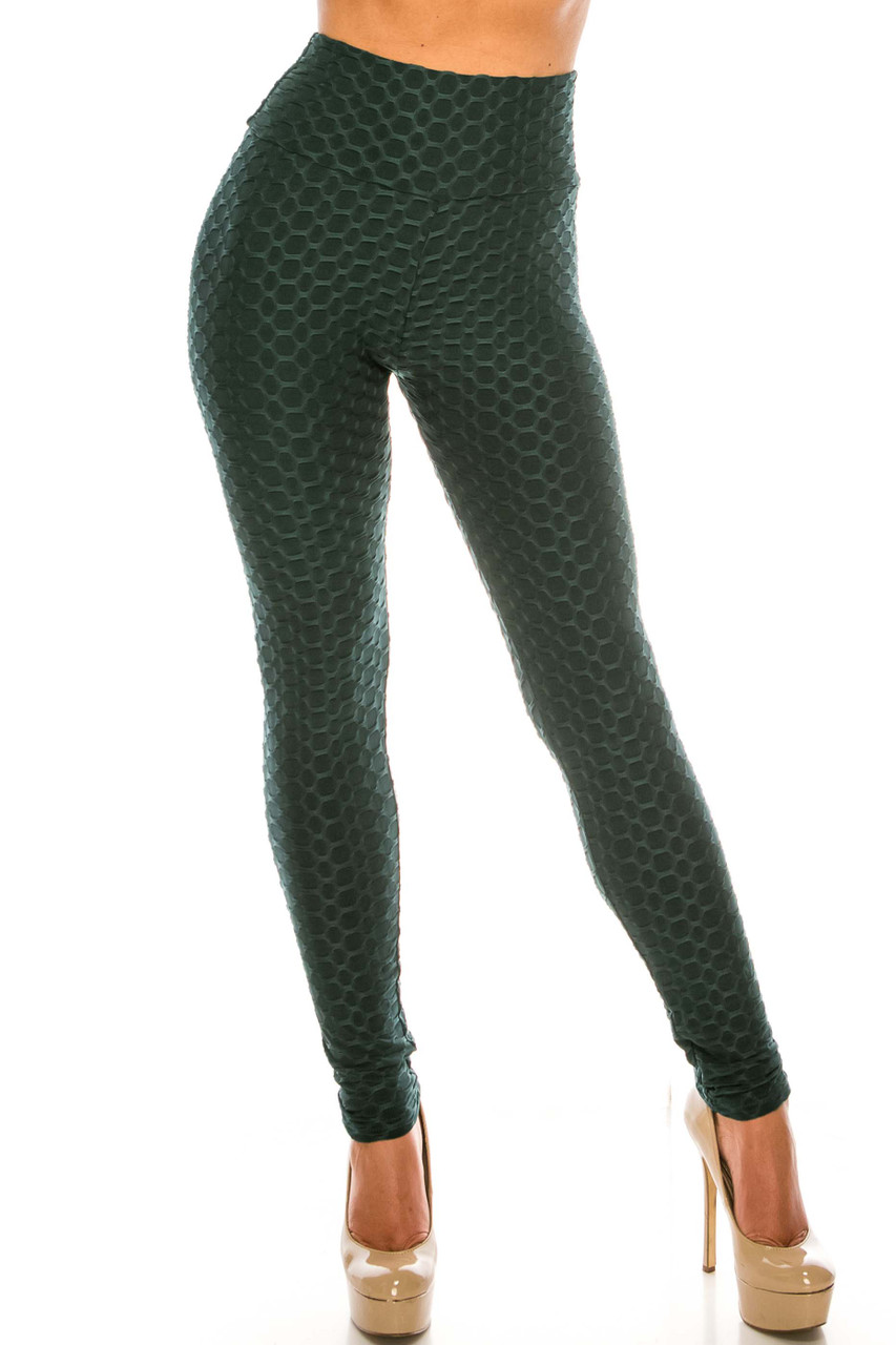 Front of green Scrunch Butt Sport Leggings with Side Pockets