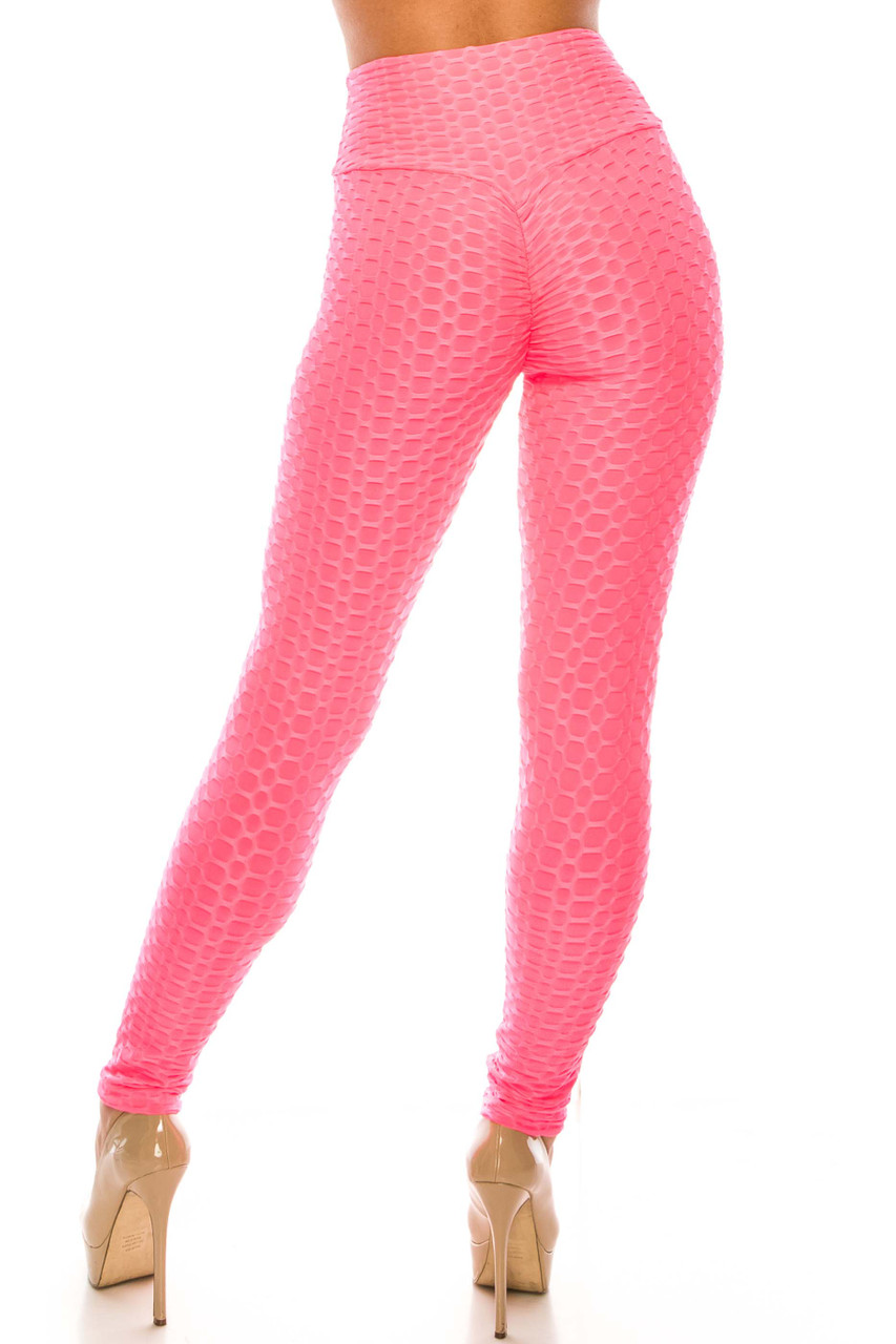 Back view of Pink Scrunch Butt Sport Leggings with Side Pockets showcasing the amazing booty lifting effect