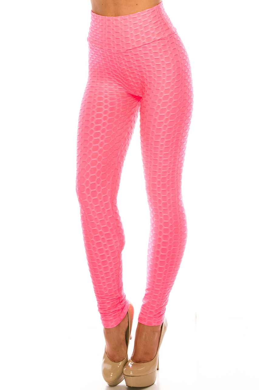 45 degree view of Pink Scrunch Butt Sport Leggings with Side Pockets