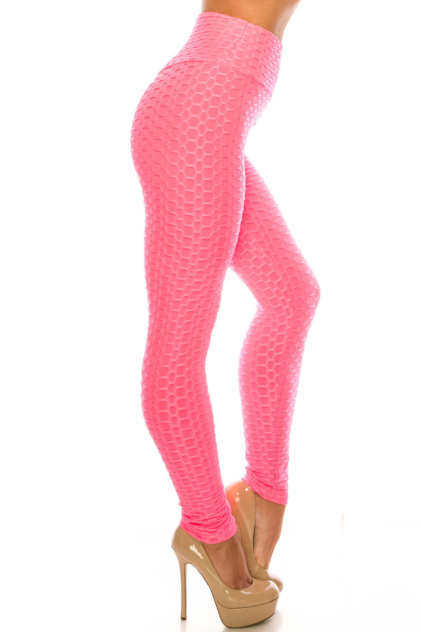 Right side of Pink Scrunch Butt Sport Leggings with Side Pockets