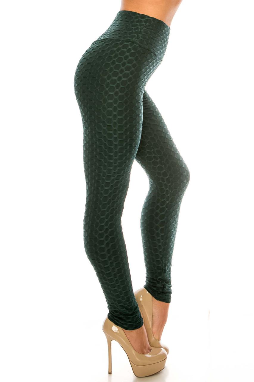 Right side of Green Scrunch Butt Sport Leggings with Side Pockets