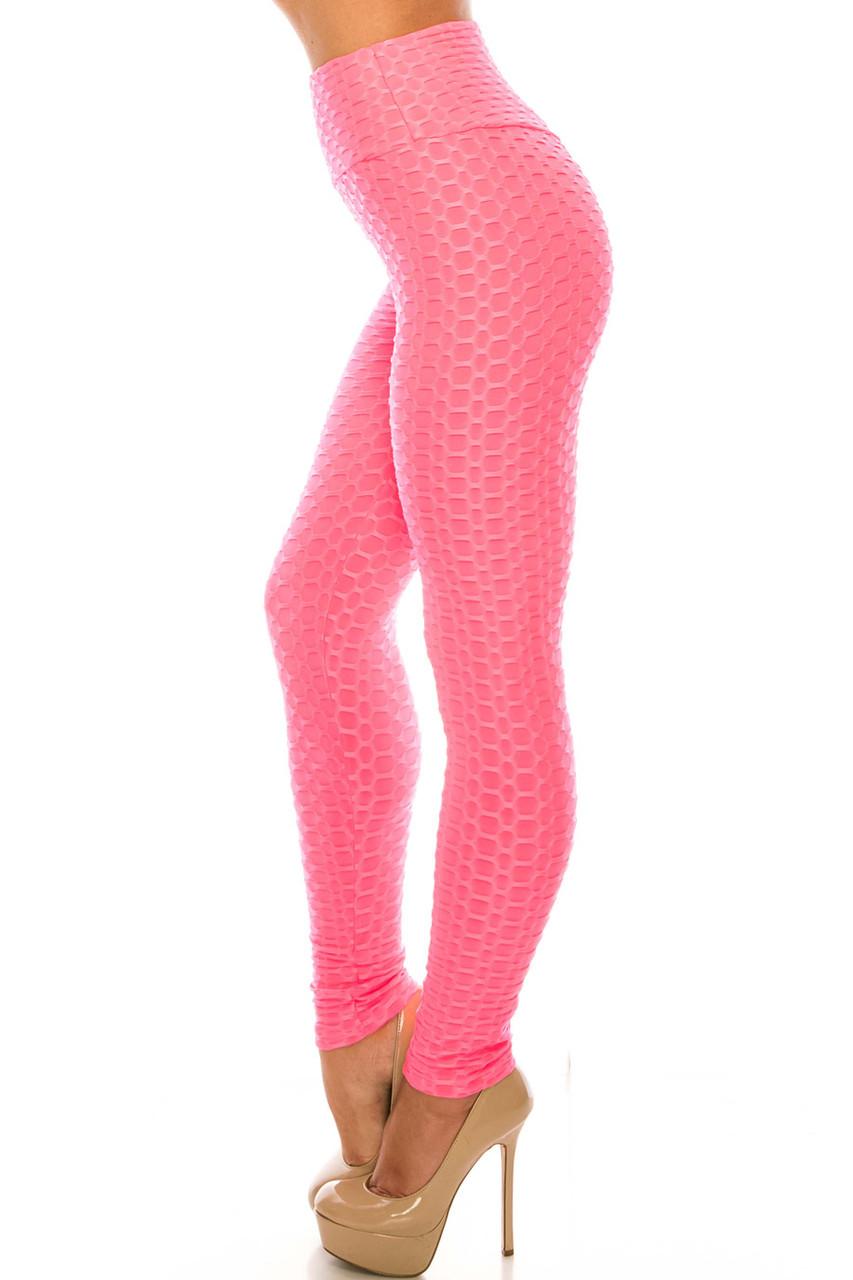 Left side of Pink Scrunch Butt Sport Leggings with Side Pockets