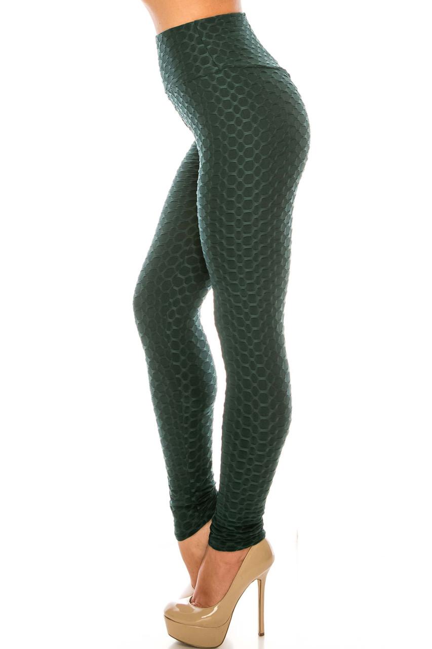 Left side of Green Scrunch Butt Sport Leggings with Side Pockets