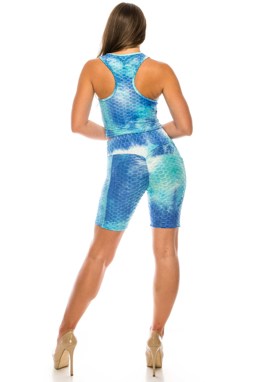 Back of Aqua 2 Piece Scrunch Butt Sport Shorts and Crop Top Set with Pockets