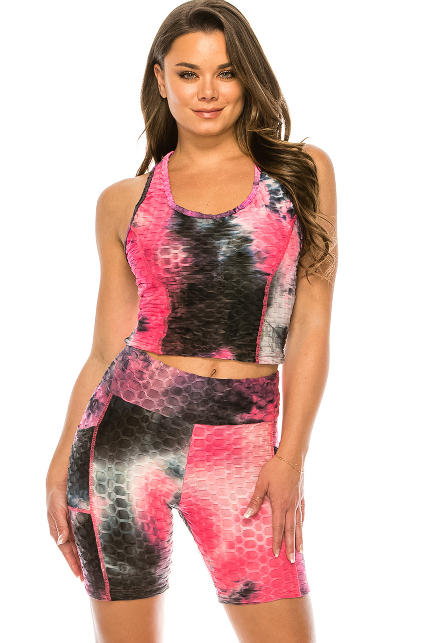 Front of Fuchsia 2 Piece Scrunch Butt Sport Shorts and Crop Top Set with Pockets