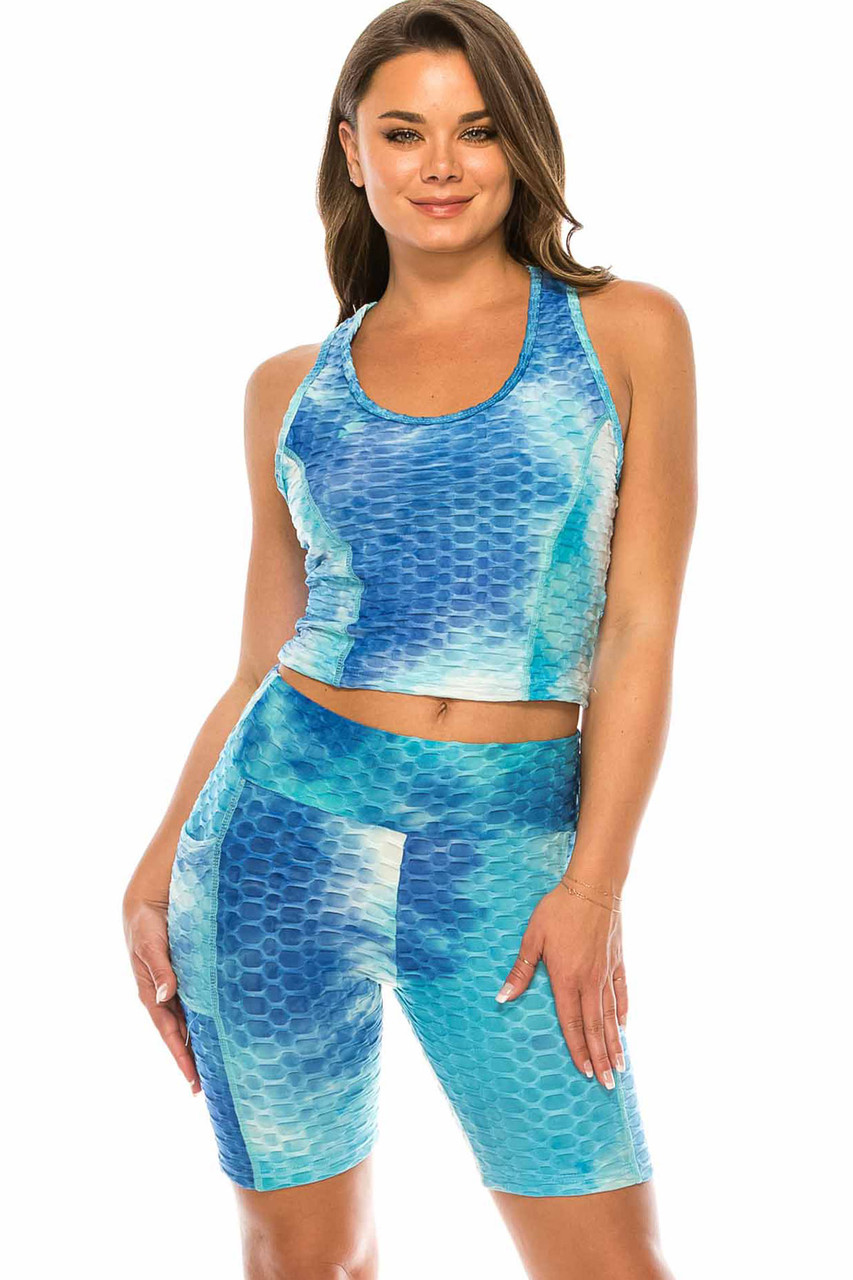 Front of Aqua 2 Piece Scrunch Butt Sport Shorts and Crop Top Set with Pockets