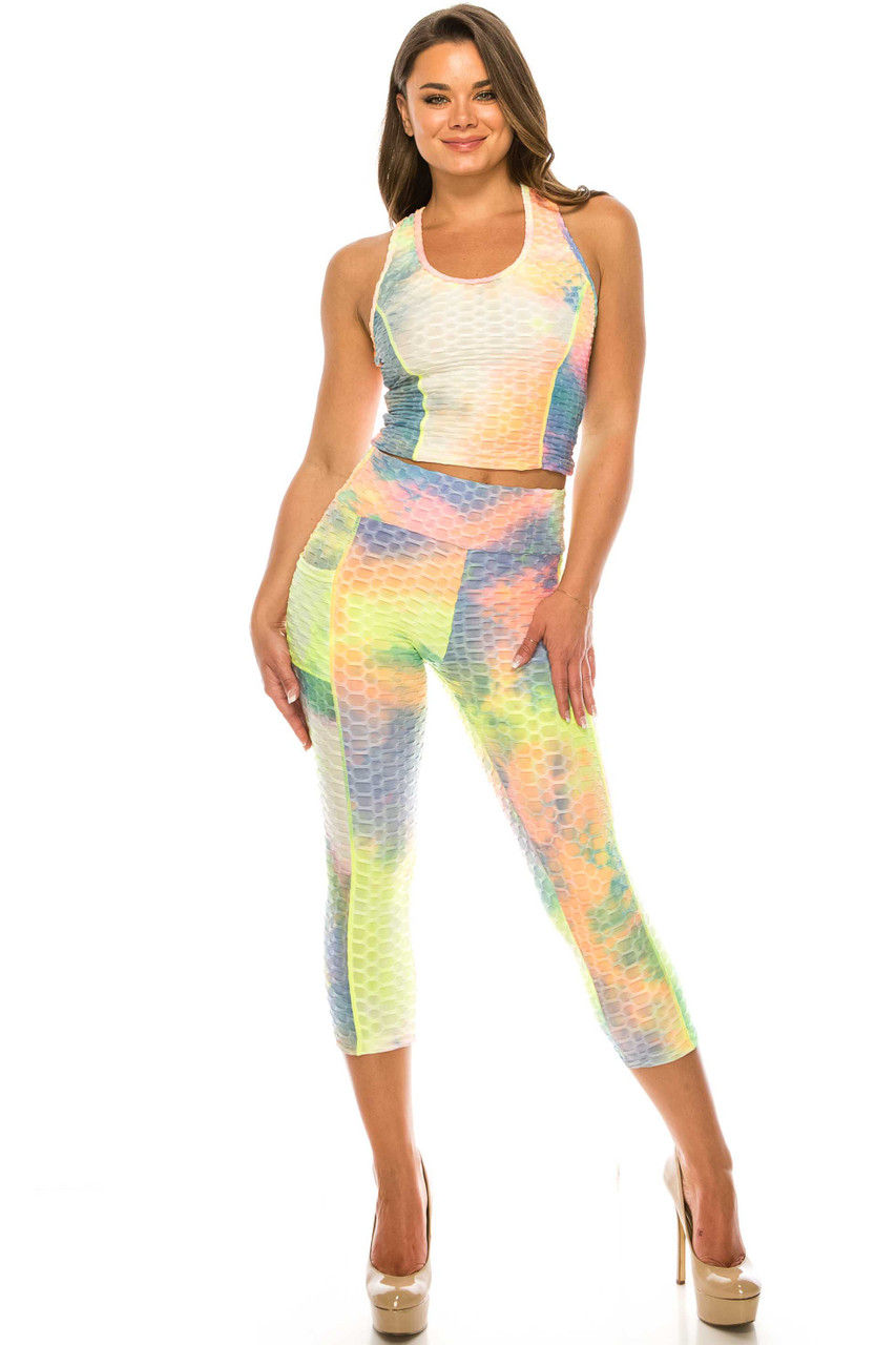 Front of Yellow 2 Piece Scrunch Butt Sport Capris and Crop Top Set with Pockets