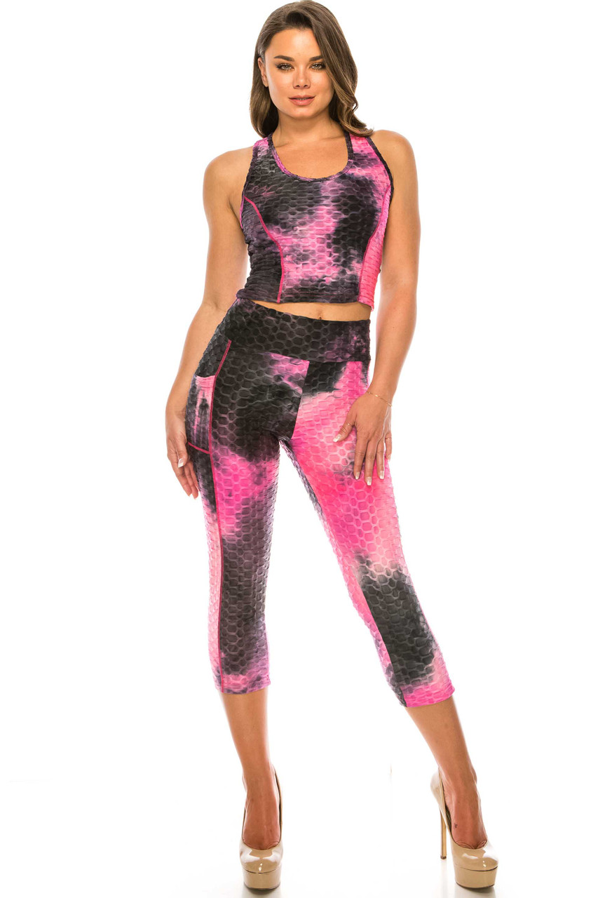 Front of Fuchsia 2 Piece Scrunch Butt Sport Capris and Crop Top Set with Pockets