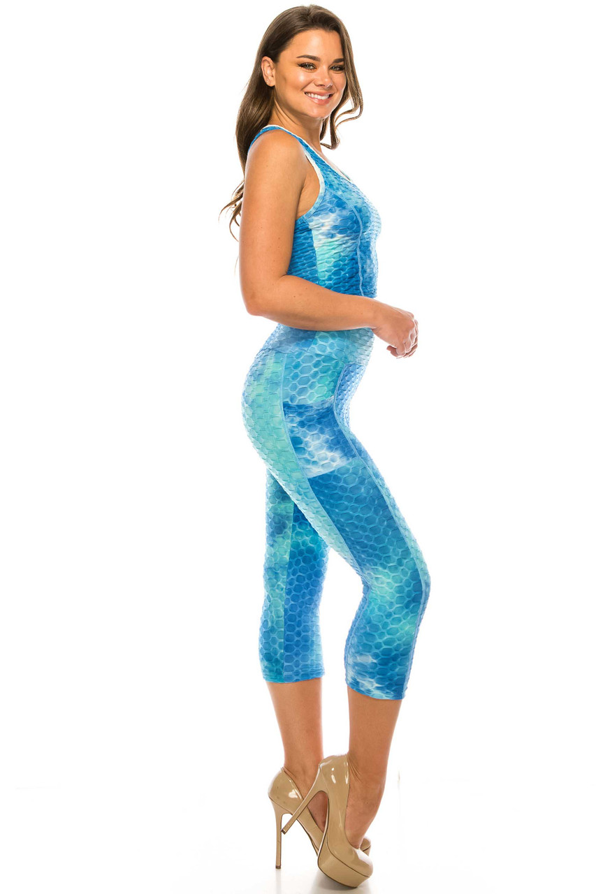 Right side of Aqua 2 Piece Scrunch Butt Sport Capris and Crop Top Set with Pockets