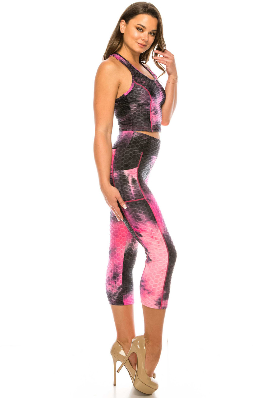 Right side of Fuchsia 2 Piece Scrunch Butt Sport Capris and Crop Top Set with Pockets