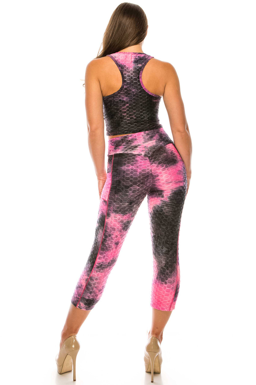 Back side of Fuchsia 2 Piece Scrunch Butt Sport Capris and Crop Top Set with Pockets