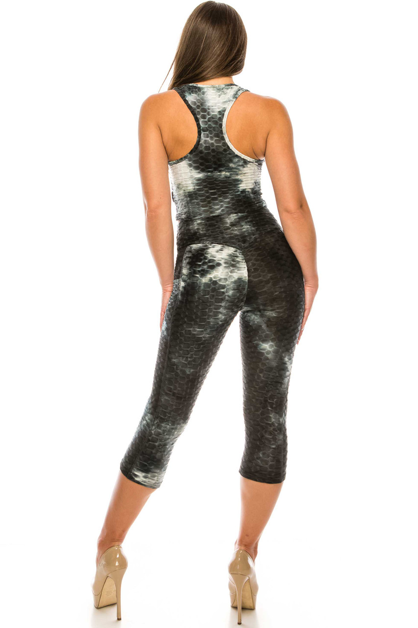 Back side of Black 2 Piece Scrunch Butt Sport Capris and Crop Top Set with Pockets