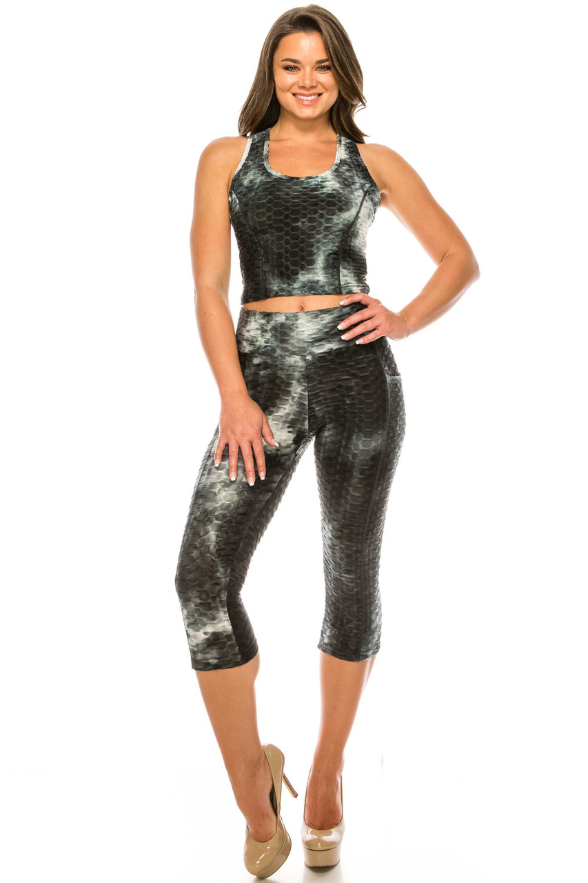 Front of Black 2 Piece Scrunch Butt Sport Capris and Crop Top Set with Pockets