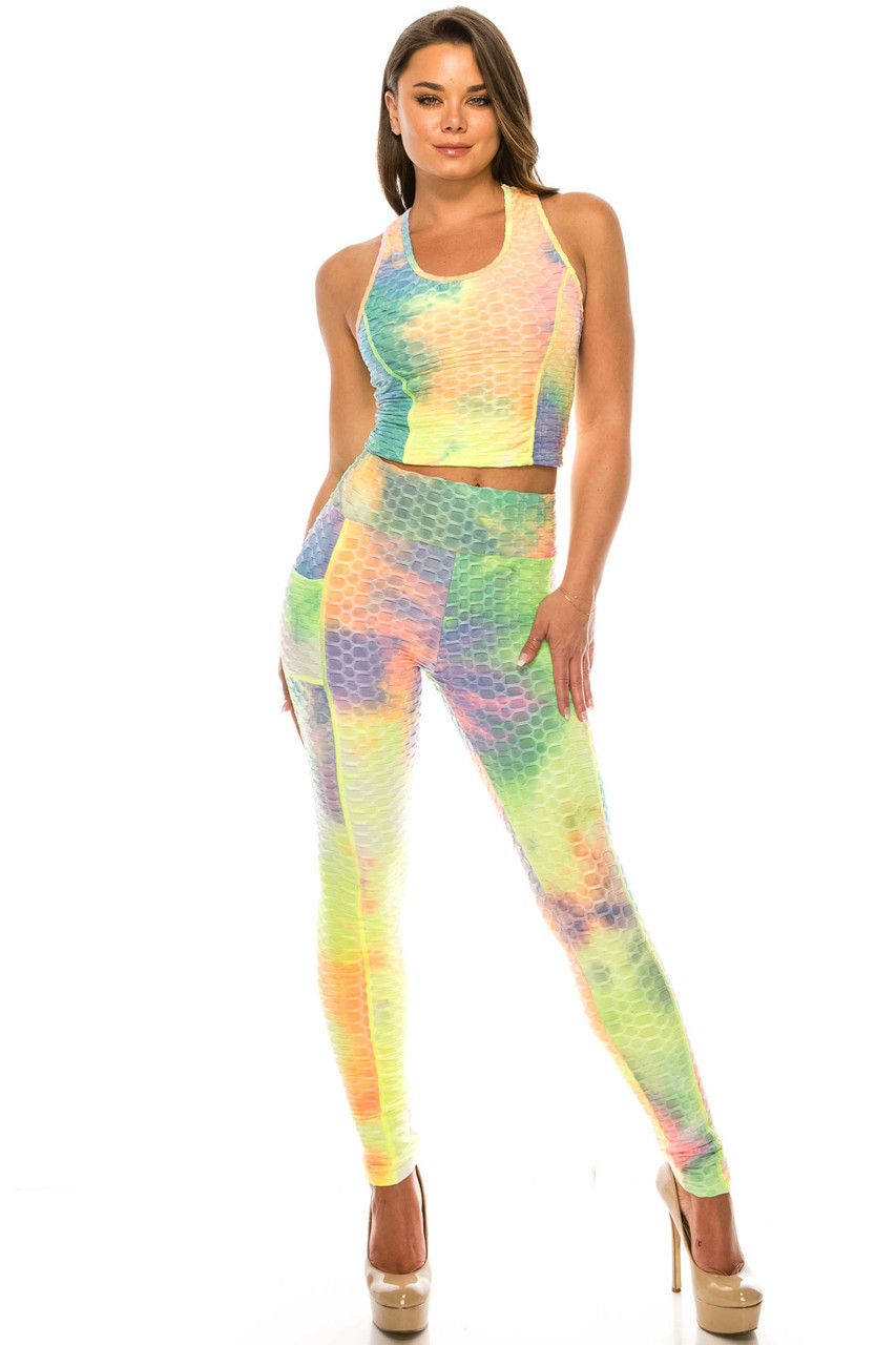 Yellow 2 Piece Scrunch Butt Sport Leggings and Crop Top Set with Pockets