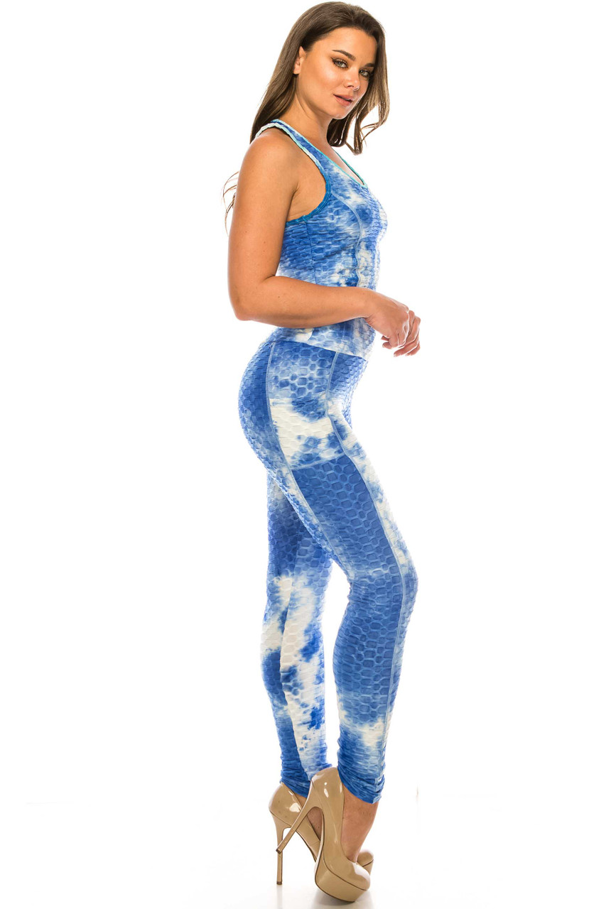 Blue 2 Piece Scrunch Butt Sport Leggings and Crop Top Set with Pockets
