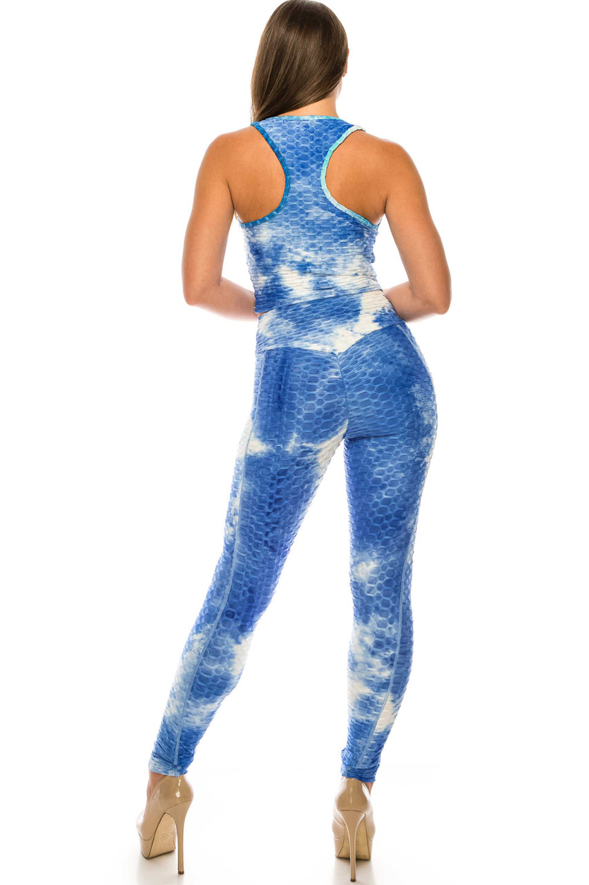 Blue 2 Piece Scrunch Butt Sport Leggings and Crop Top Set with Pockets