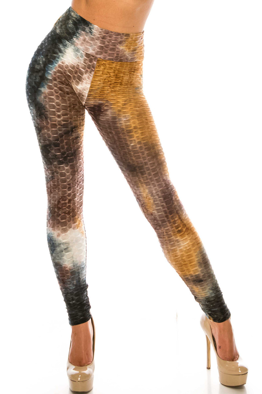 Front of Brown and Black Tie Dye Scrunch Butt Sport Leggings  with a high waist and textured design.