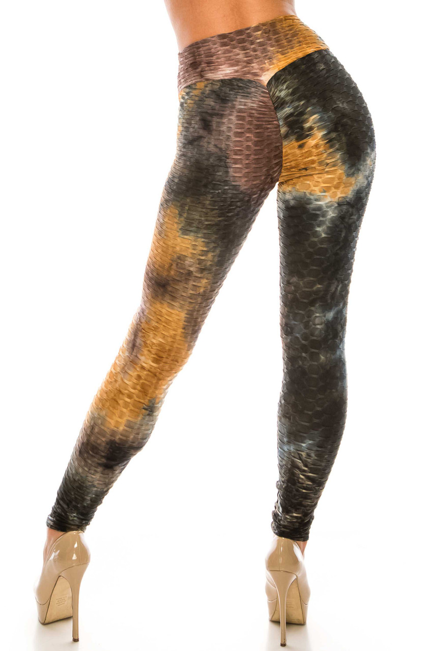 Back side image of Brown and Black Tie Dye Scrunch Butt Sport Leggings with ruching on the rear for a booty lifting effect.