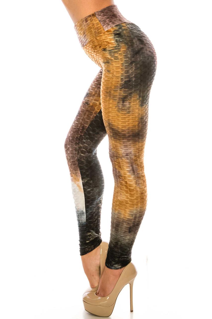 Left side of Brown and Black Tie Dye Scrunch Butt Sport Leggings