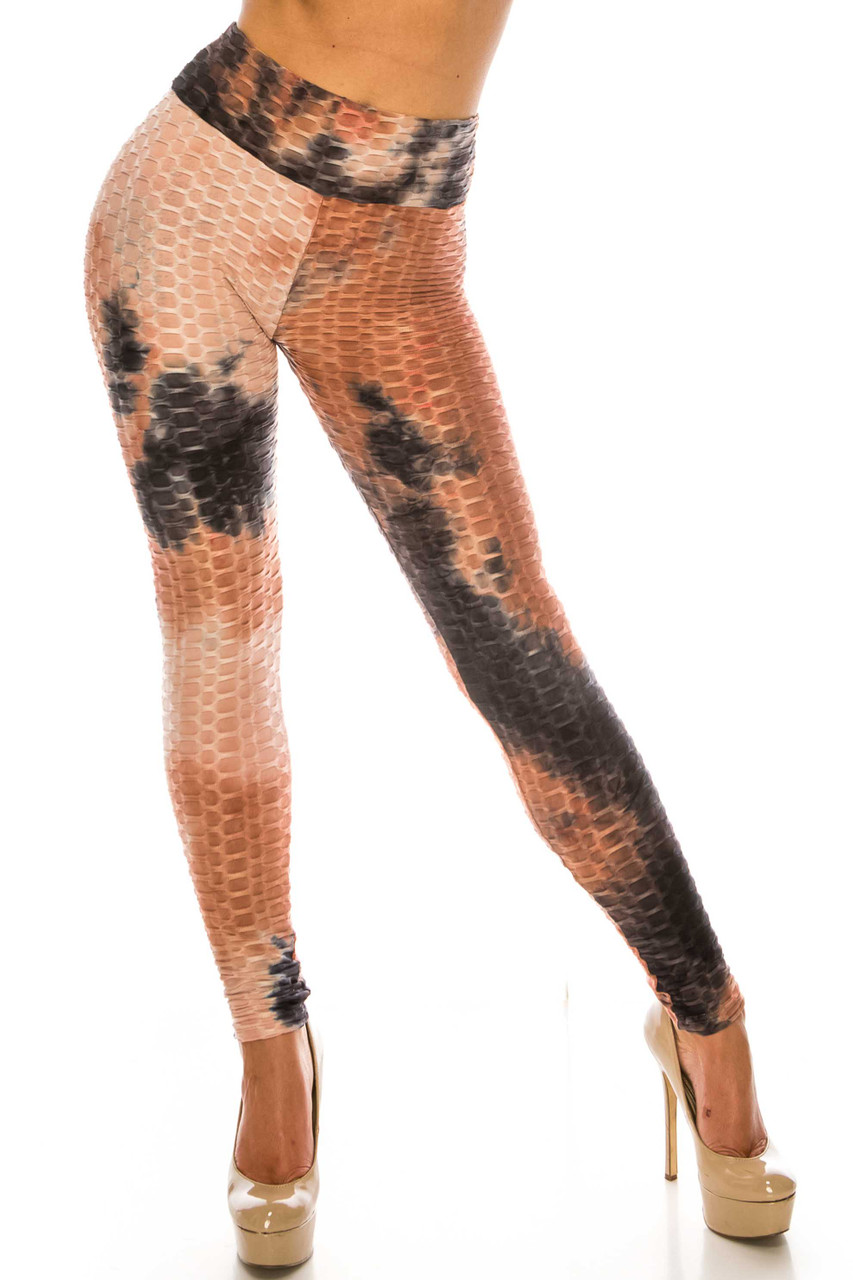 Front of Mocha and Black Tie Dye Scrunch Butt Sport Leggings with a high waist and textured design.