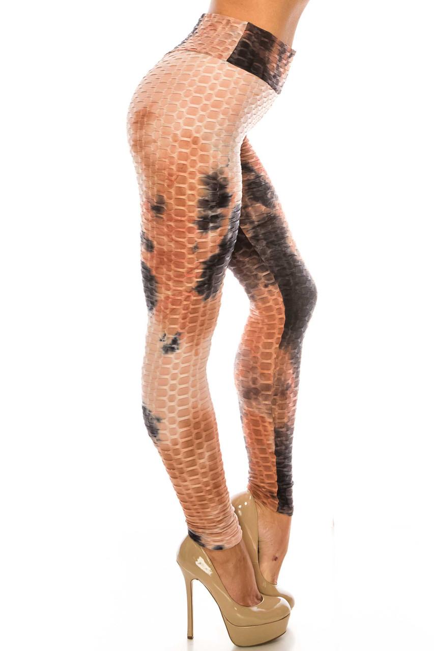 Right side of Mocha and Black Tie Dye Scrunch Butt Sport Leggings