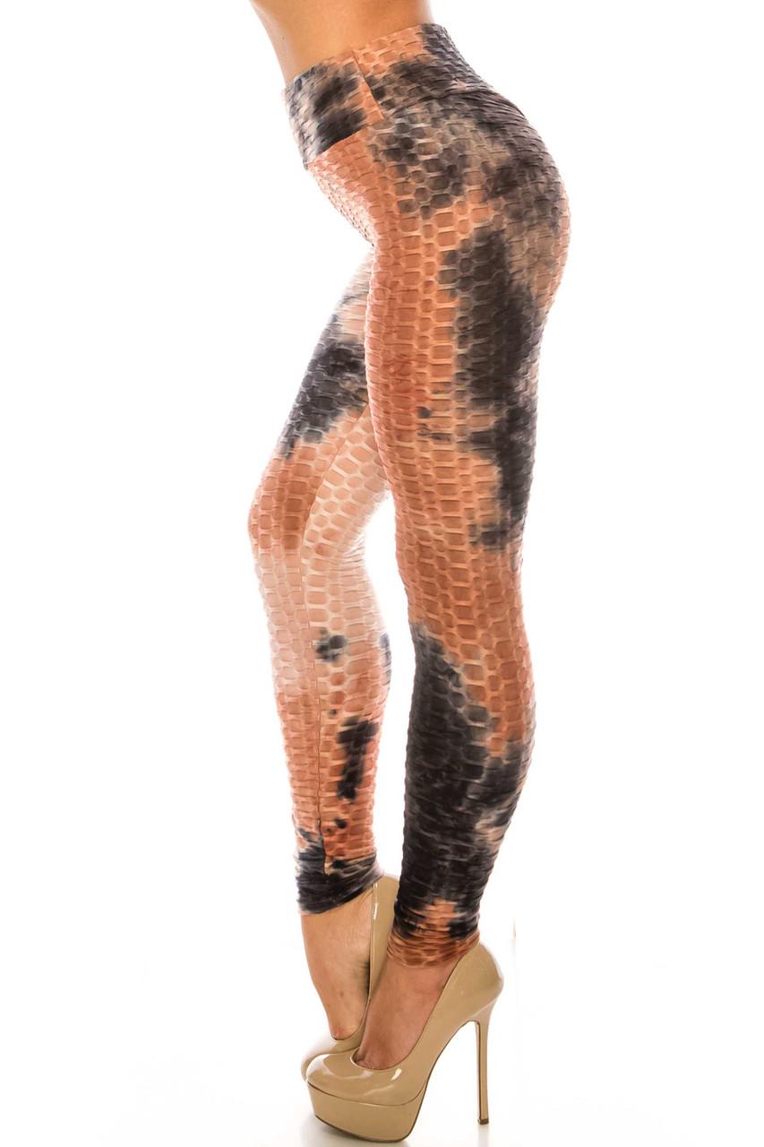 Left side of Mocha and Black Tie Dye Scrunch Butt Sport Leggings