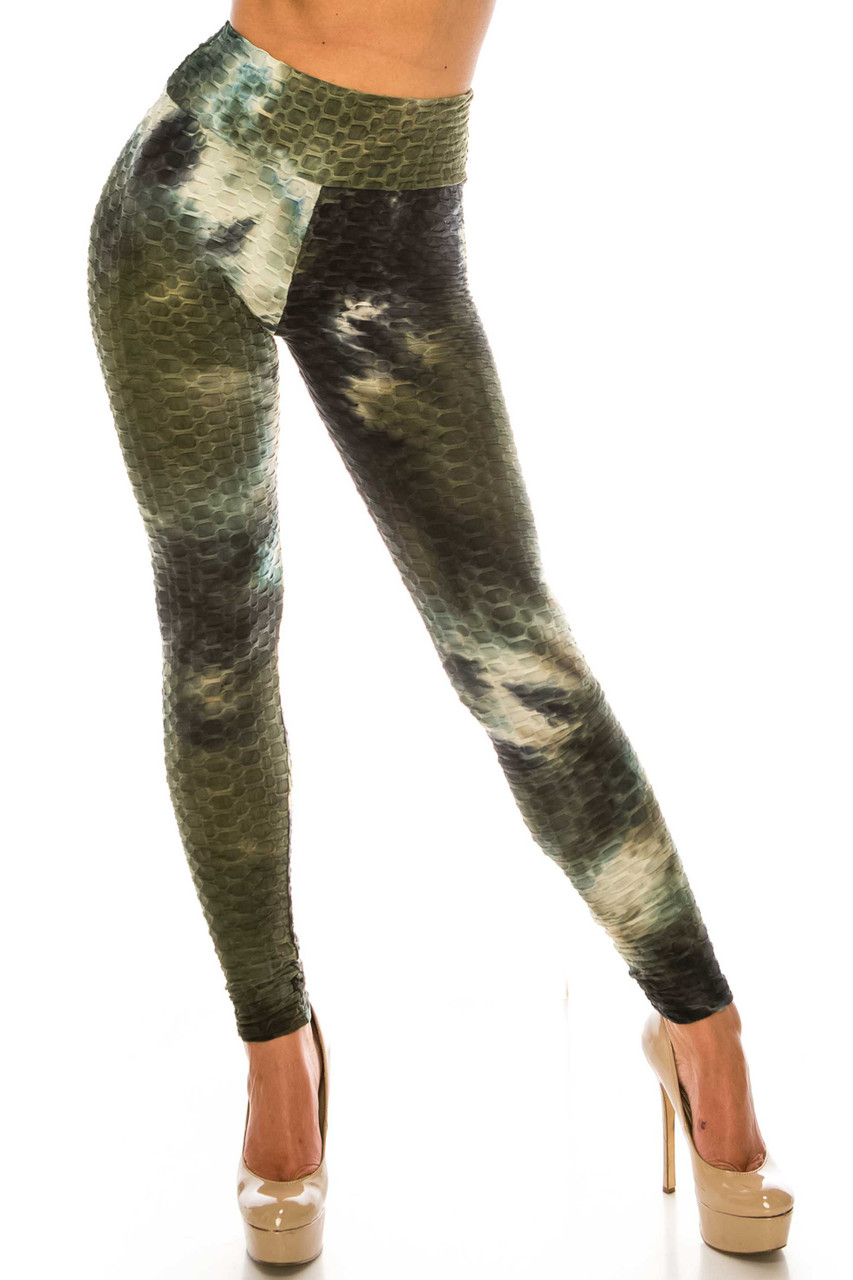 Front of Olive and Black Tie Dye Scrunch Butt Sport Leggings  with a high waist and textured design.