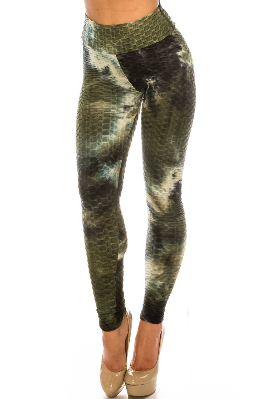 45 degree view of Olive and Black Tie Dye Scrunch Butt Sport Leggings