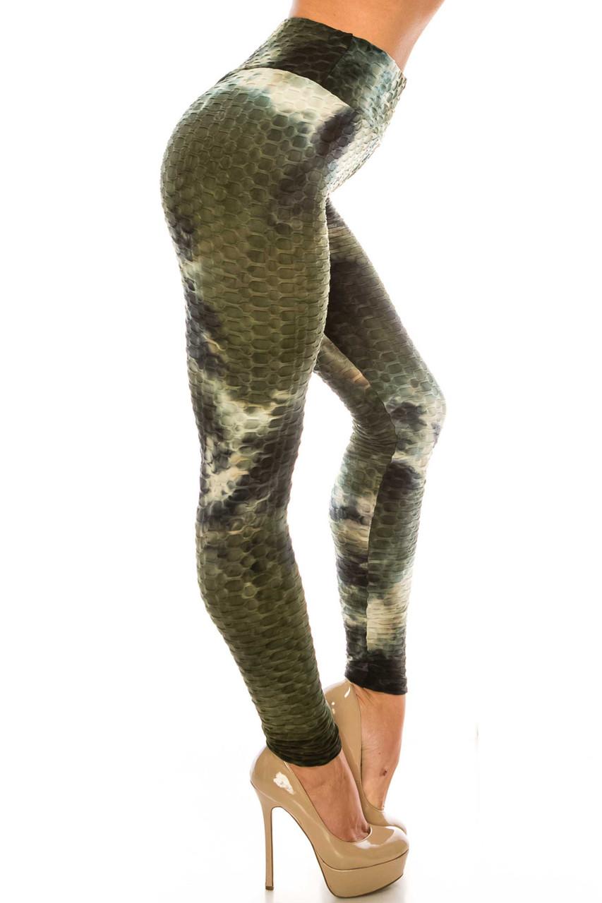 Right side of Olive and Black Tie Dye Scrunch Butt Sport Leggings