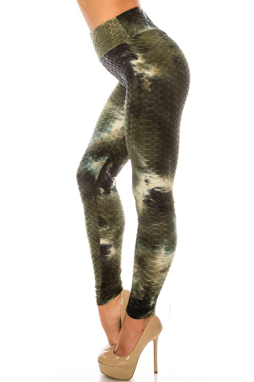 Left side of Olive and Black Tie Dye Scrunch Butt Sport Leggings
