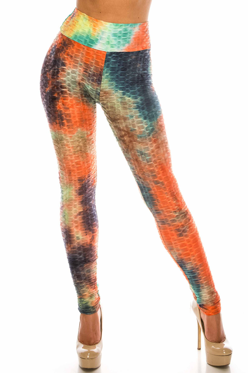 Front of Multi Color Bold Tie Dye Scrunch Butt Sport Leggings with a high waist and textured design.