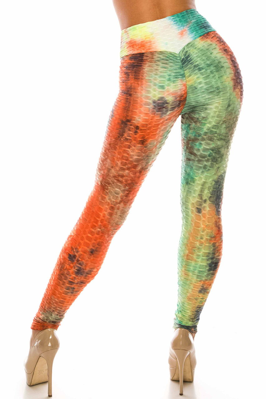 Back side image of Multi Color Bold Tie Dye Scrunch Butt Sport Leggings  with ruching on the rear for a booty lifting effect.