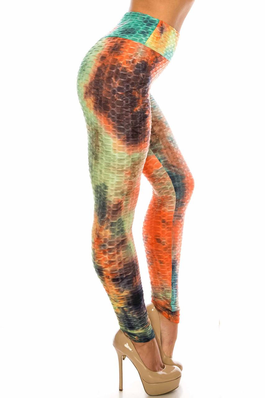 Right side of Multi Color Bold Tie Dye Scrunch Butt Sport Leggings