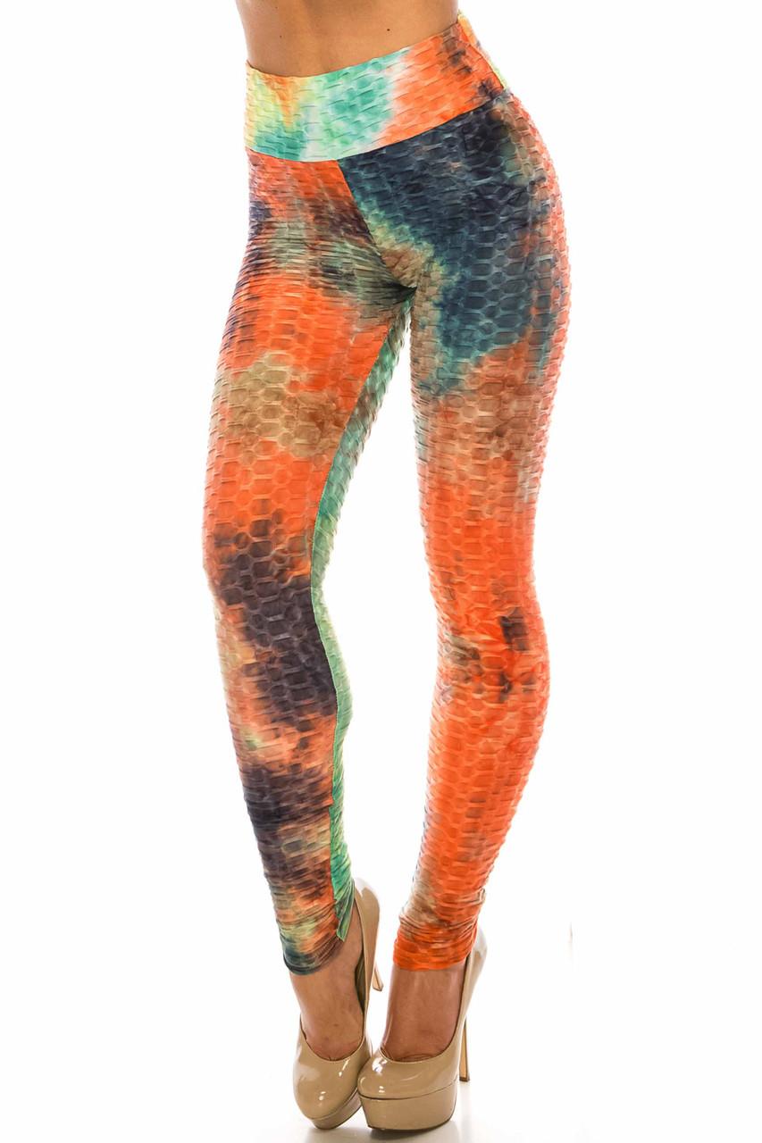 45 degree view of Multi Color Bold Tie Dye Scrunch Butt Sport Leggings