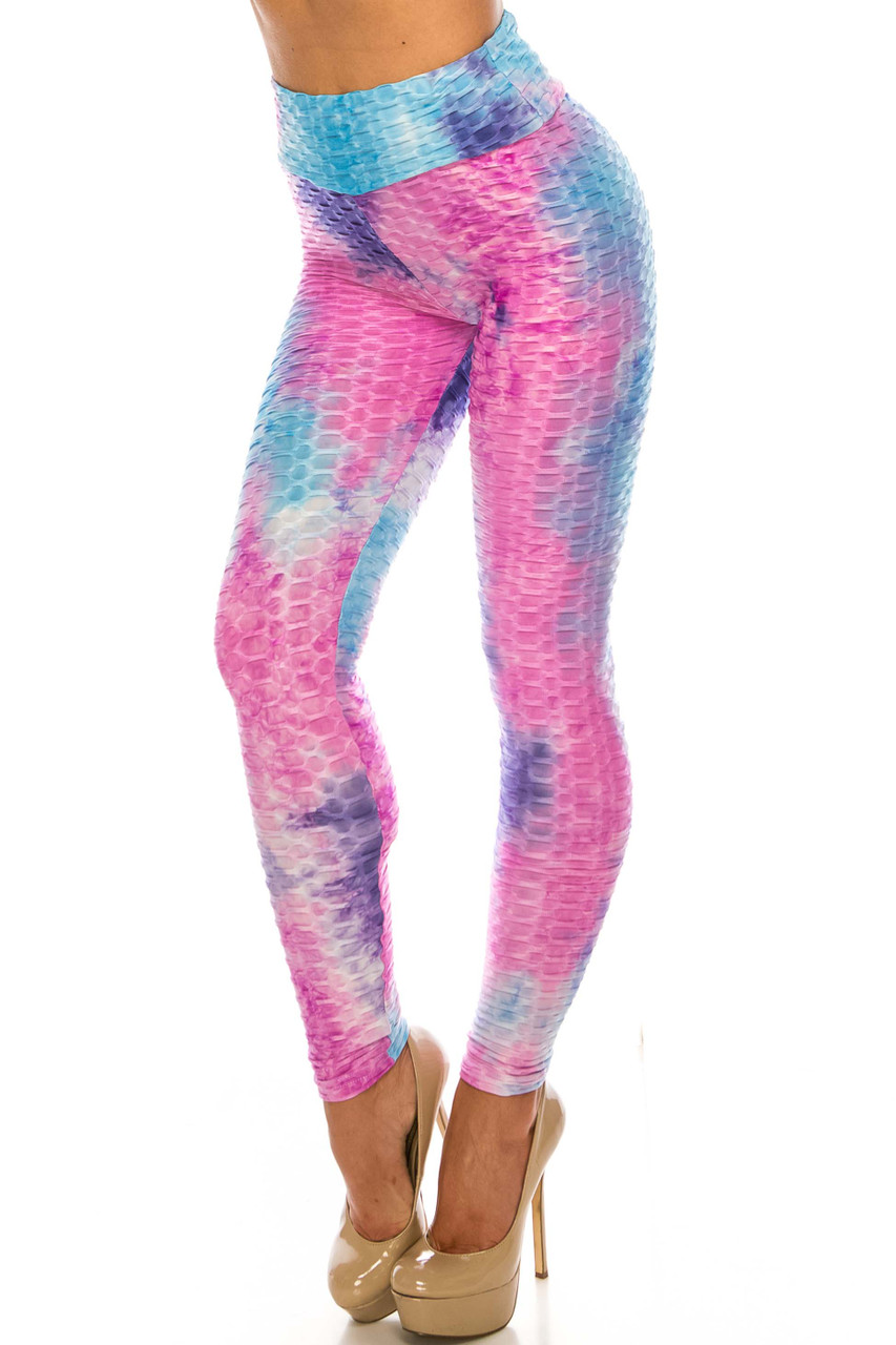 45 degree view of Pink and Blue Tie Dye Scrunch Butt Sport Leggings