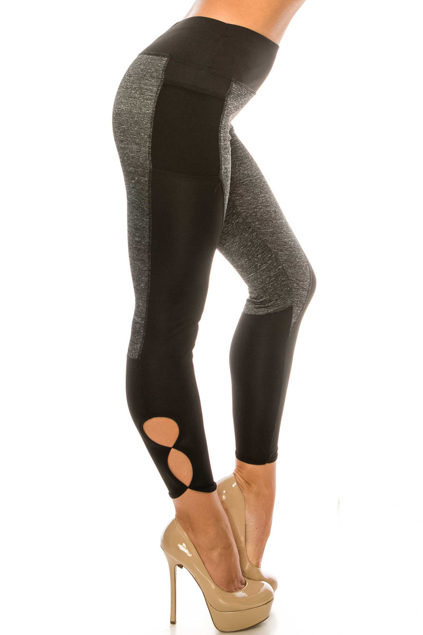 Right side of Duo Black Heather High Waisted Cut Out Sport Capris with circular calf cut outs