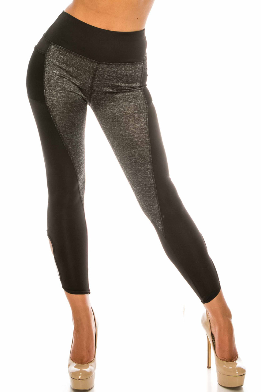 Front of Duo Black Heather High Waisted Cut Out Sport Capris featuring a black and charcoal color block design.