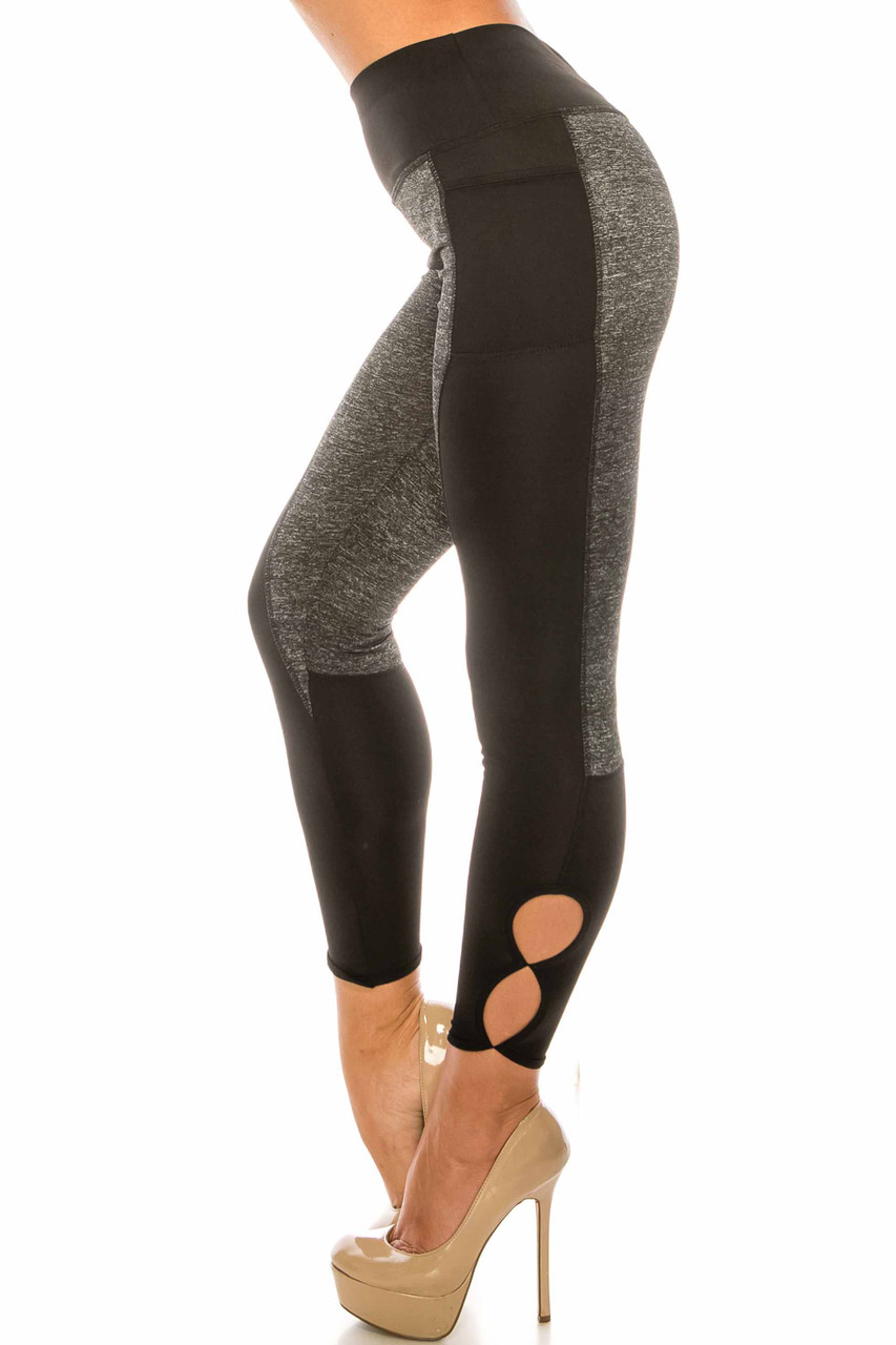 Left side of Duo Black Heather High Waisted Cut Out Sport Capris with circular calf cut outs