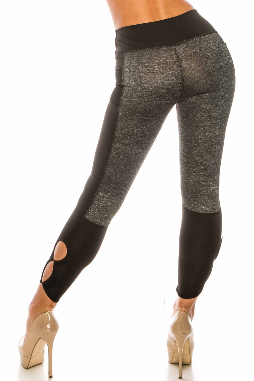 Back view of Duo Black Heather High Waisted Cut Out Sport Capris