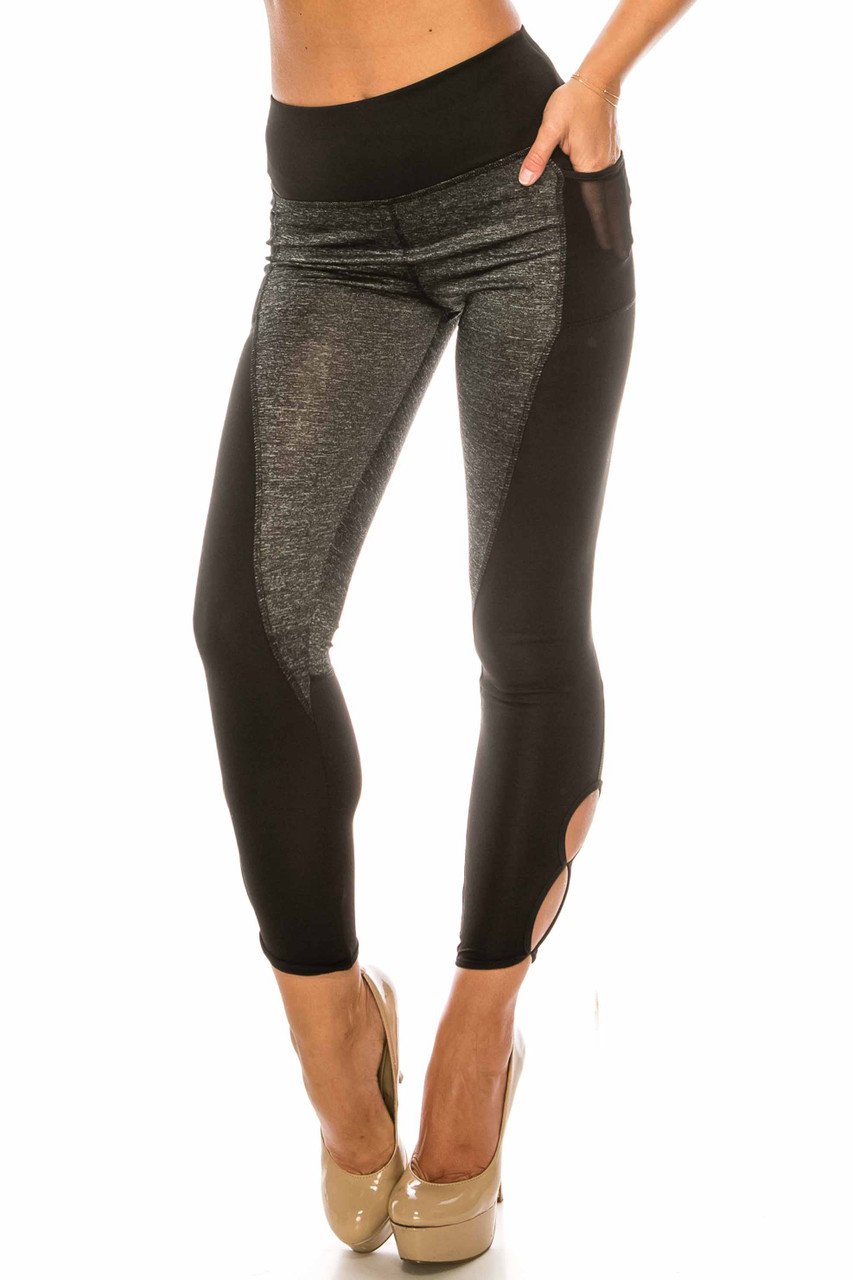 45 degree view of Duo Black Heather High Waisted Cut Out Sport Capris