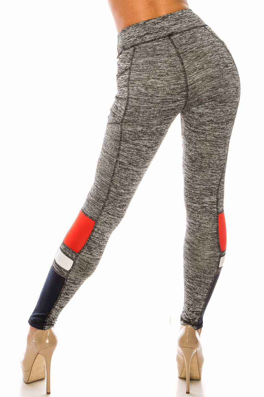 Back side view of Charcoal Red Accent High Waisted Workout Leggings with Side Pocket