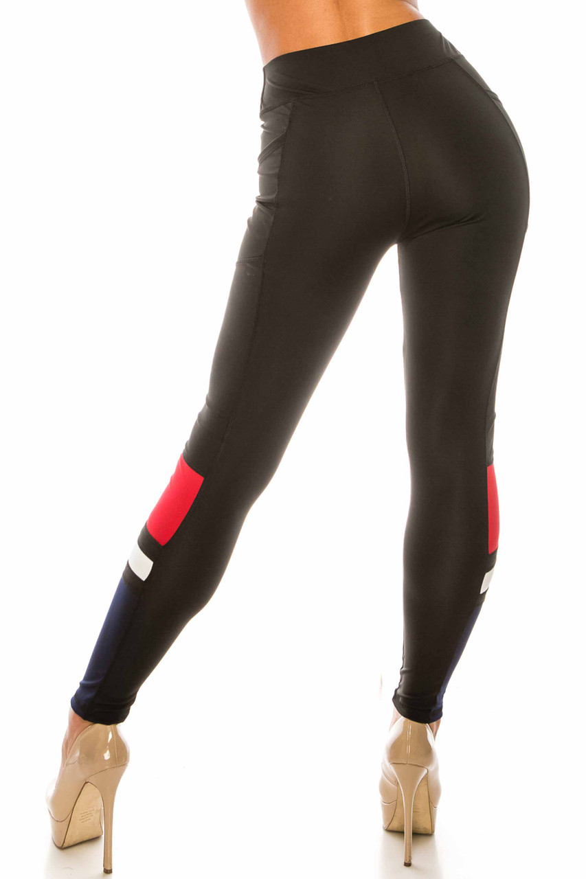 Back side view of Black Red Accent High Waisted Workout Leggings with Side Pocket