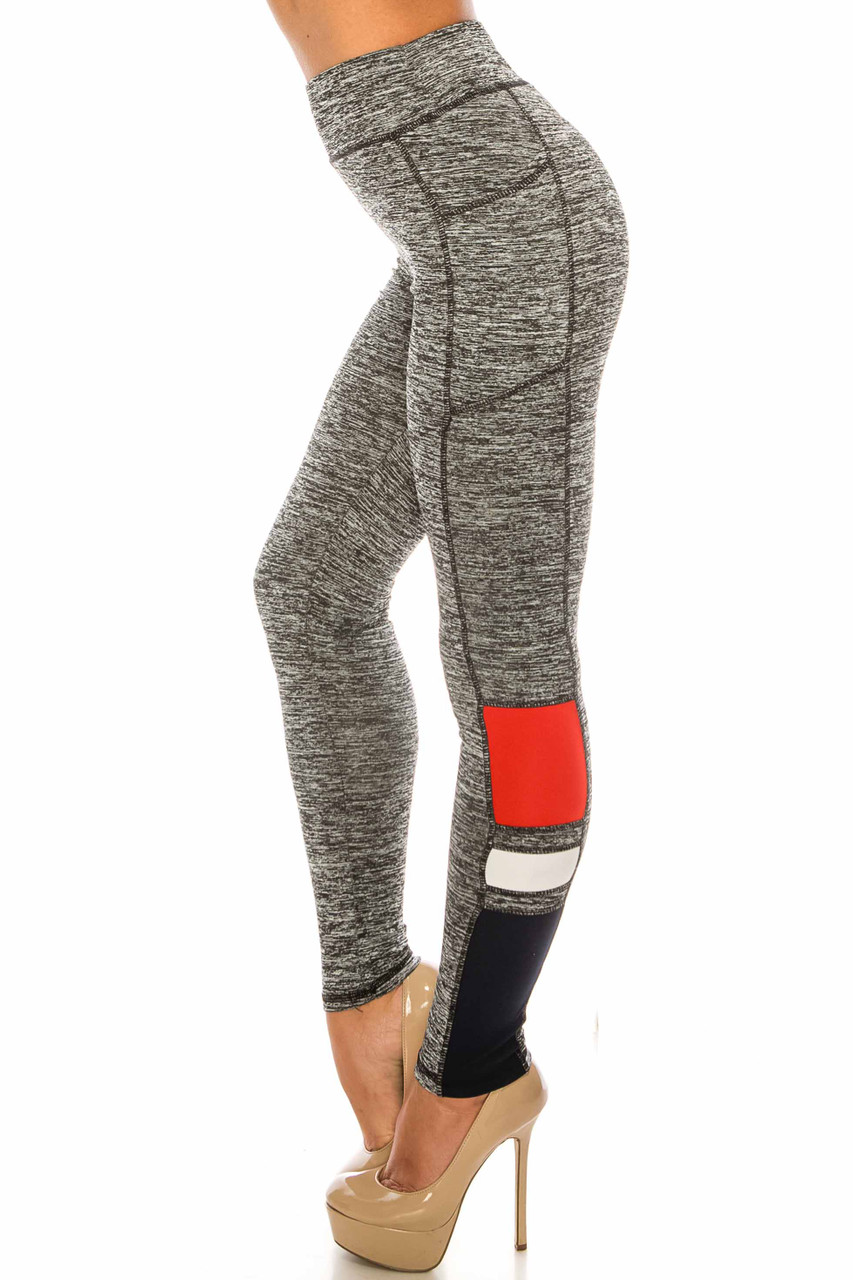 Left side view of Charcoal Red Accent High Waisted Workout Leggings with Side Pocket