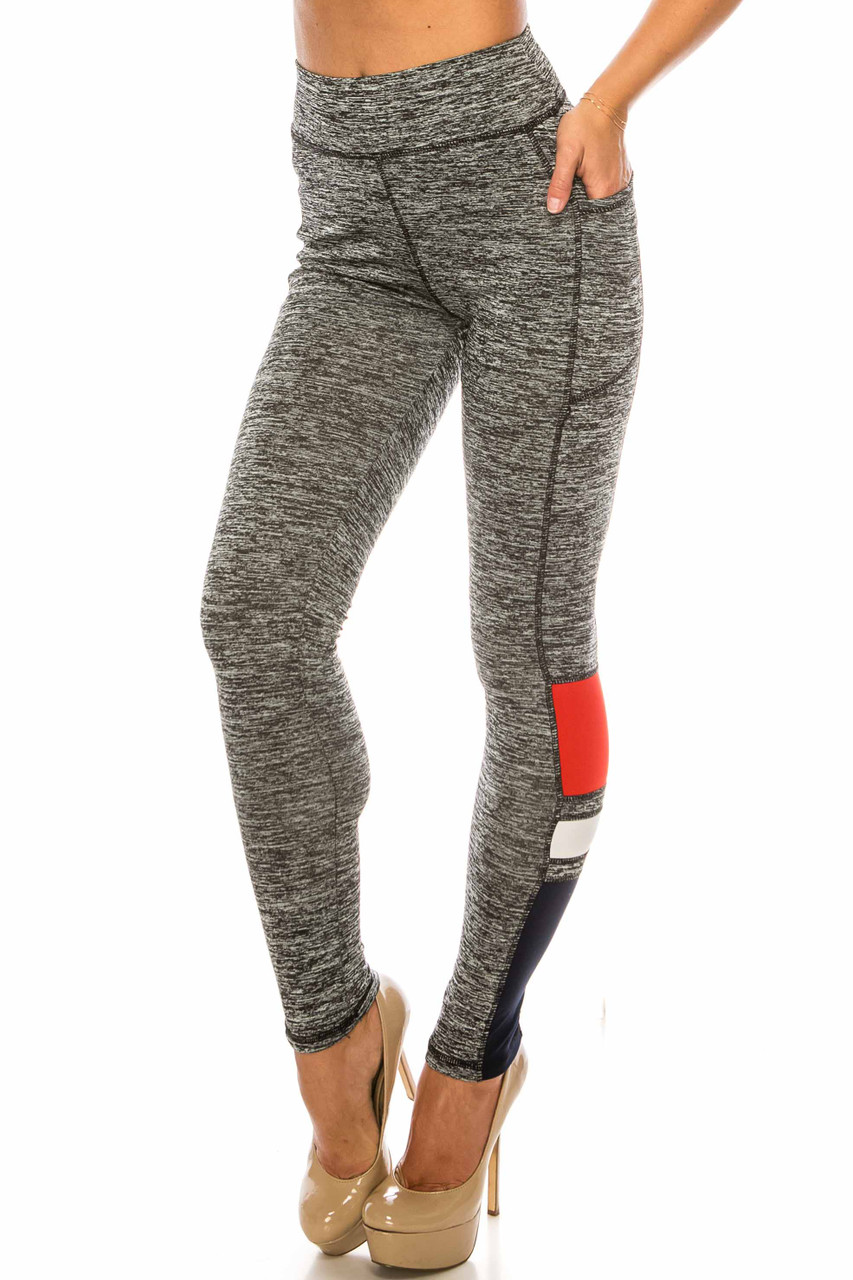45 degree view of Charcoal Red Accent High Waisted Workout Leggings with Side Pocket