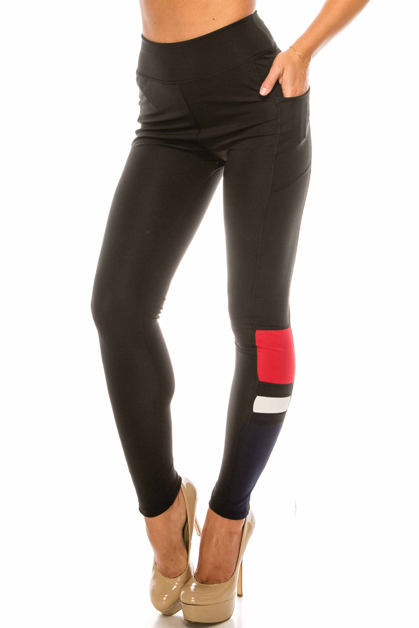 45 degree view of Black Red Accent High Waisted Workout Leggings with Side Pocket