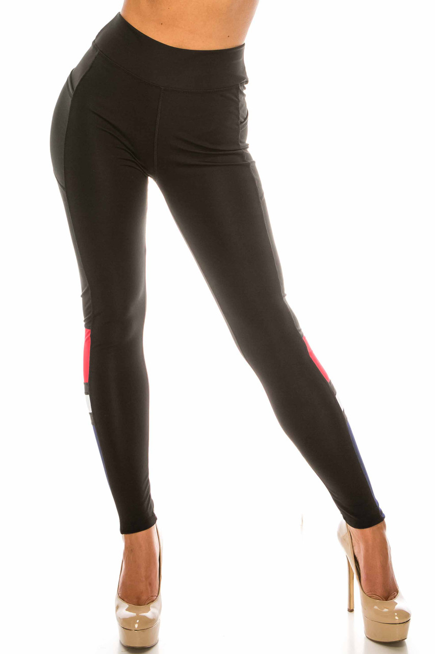 Front side image of Black Red Accent High Waisted Workout Leggings with Side Pocket