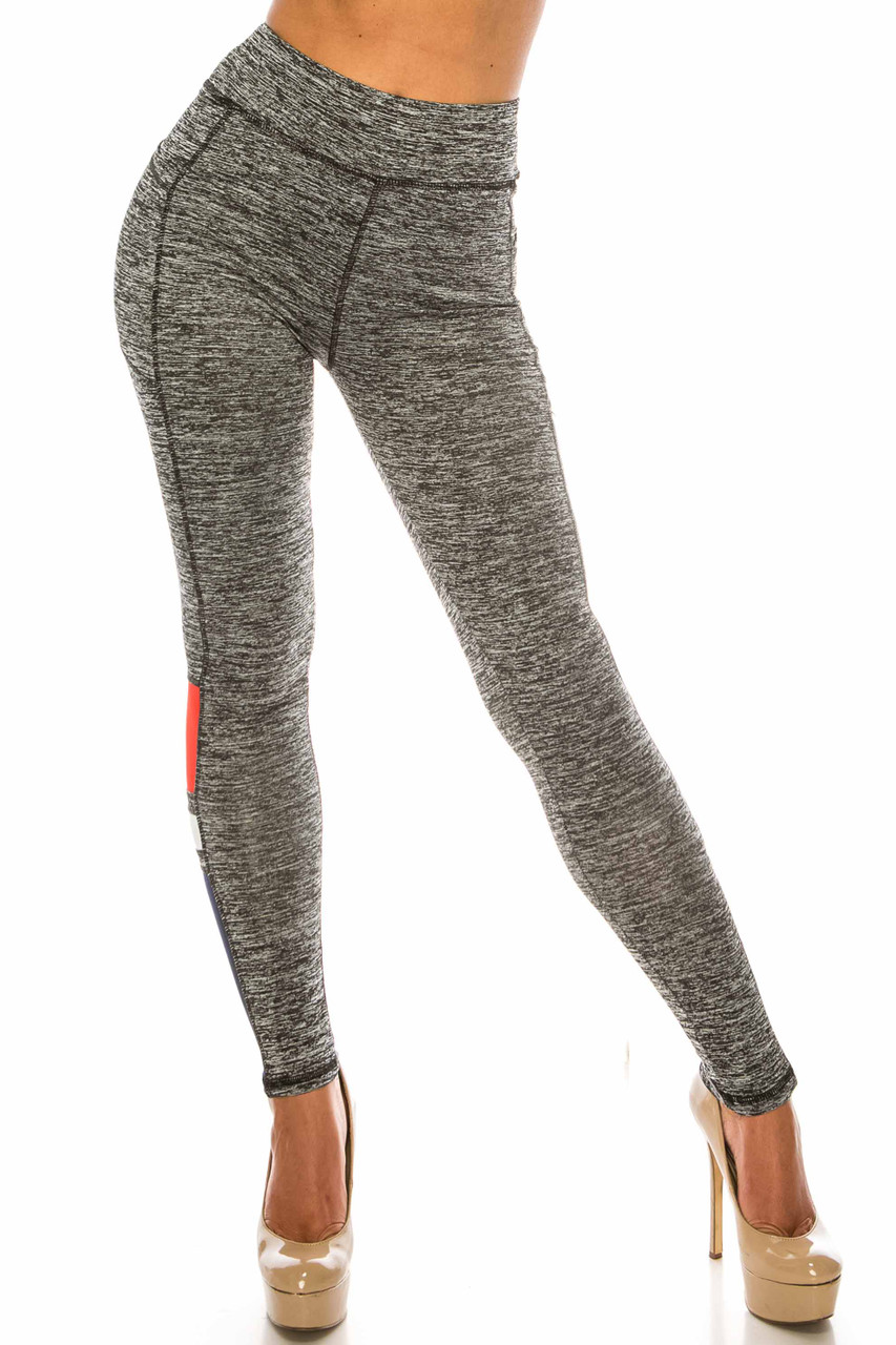 Front side view of Charcoal Red Accent High Waisted Workout Leggings with Side Pocket