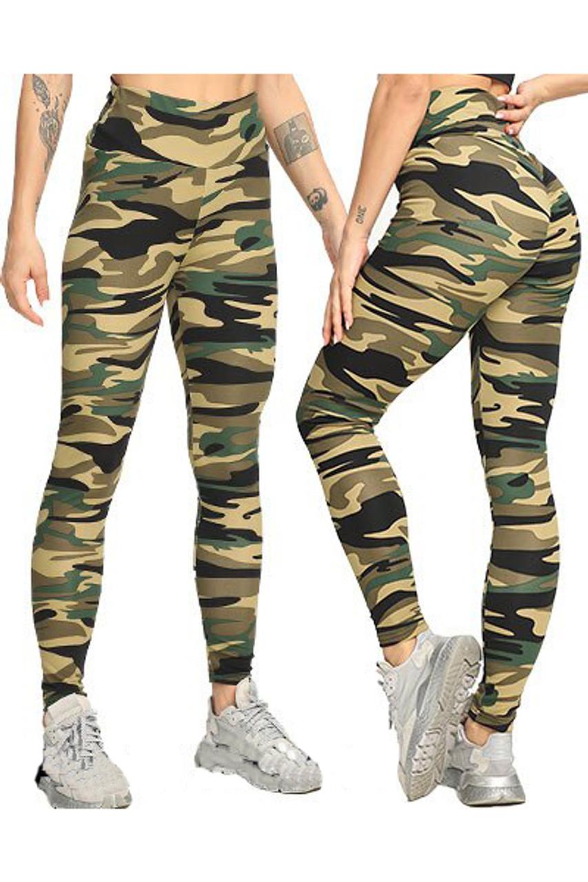 Green Camouflage Scrunch Butt Sport Leggings