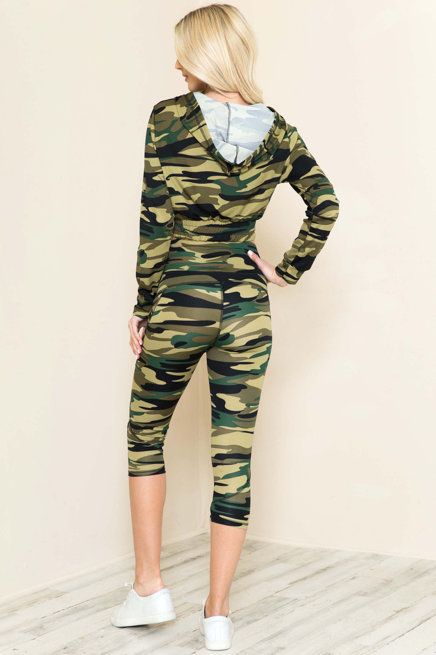 2 Piece Green Camouflage Capris and Cropped Hooded Jacket Set
