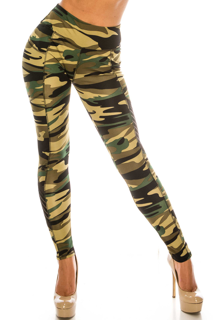 Green Camouflage Serrated Mesh High Waisted Sport Leggings